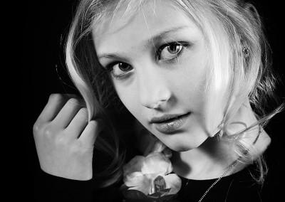Modellenparty portret zwart-wit