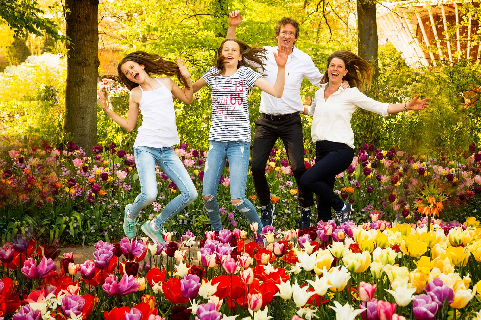 Family photos between tulips